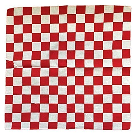 New 2015 Designs Patterned Bandanas Head Neck Scarfs (Red White Checkers)