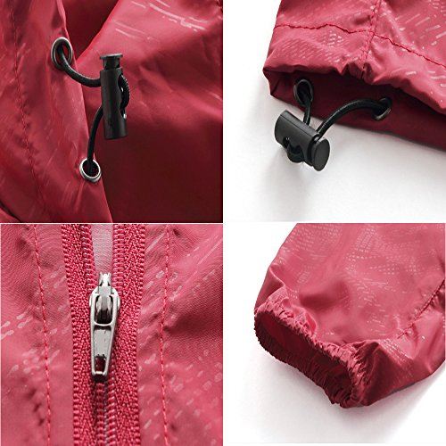 ZEARO Damen Herren Regenmantel Wetterschutzjacke Wasserdicht Winddicht Raincoat mit Kapuze Outdoor Sport Jacke Dunkel Rot