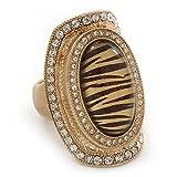 Anillo grande expandible oval con ''animal print'' e imitación de diamante en metal dorado cepillado-3.7cm de largo