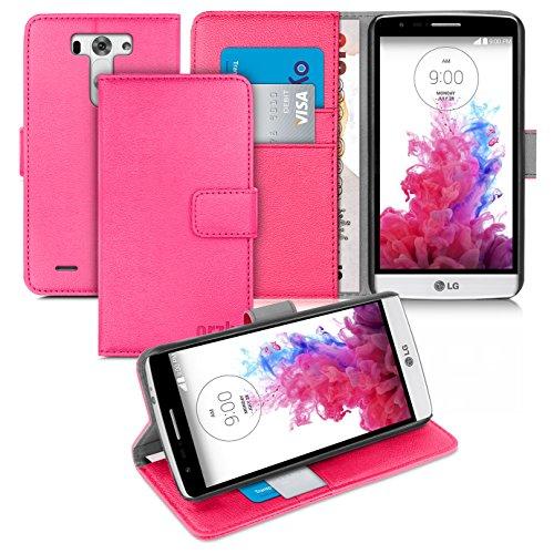 Orzly® - LG G3-S (G3 MINI) - Multi-Function Wallet Stand Case - SCHUTZHÜLLE mit integrierte BRIEFTASCHE + STAND - Flip Stil Fall / Tasche / Handytasche in ROSA mit Magnetischen Deckel - Hülle Entwurf exklusiv für Google / LG G3 S SmartPhone / Handy (ALIAS: LG G3 MINI / G3-2 / etc.) - 2014