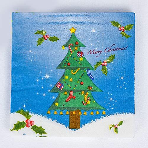 Christmas color printed napkin snowman sleigh Christmas tree bells party napkins square disposable napkins (Christmas Bells Sleigh)
