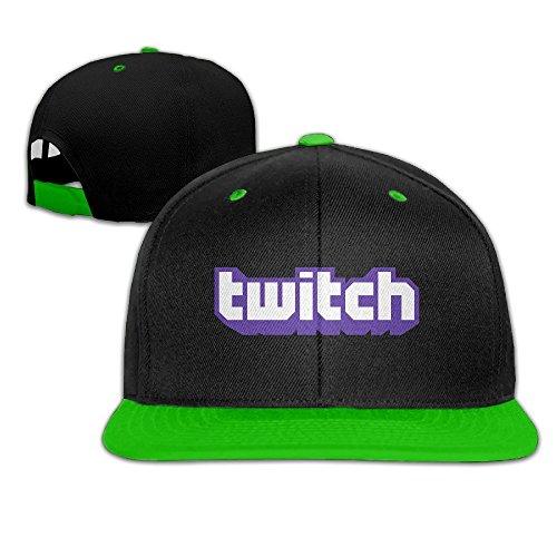 Hittings Twitch Logo Adjustable Snapback Hip-hop Cap Baseball Hats KellyGreen