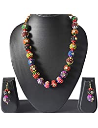 AyA Fashion Designer Tradional Multicolor Pearl Necklace Set Studded With Stones And Pair Of Earrings For Women...
