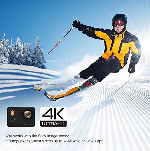 Apeman Unterwasser Action Kamera 4K Wi-Fi Action Cam 20MP Wasserdicht 30M 5,1cm LCD-Bildschirm 170Weitwinkel-Dual 1050mAh Batterien mit tragbaren Paket Wasserdicht Case und Kit von Zubehör
