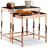 Relaxdays Table d'appoint COPPER plateau en verre noir lot de 2 déco table basse moderne, cuivre