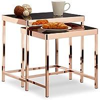 Relaxdays–Mesa Auxiliar Copper–Bandeja de Cristal Negro–Juego de 2Déco Mesa Baja Moderno, Cobre