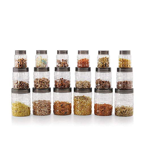 Cello Checkers Plastic PET Canister Set, 18 Pieces, Clear