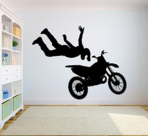ree Style Dirt Bike Sticker Bedroom Sport Dirt Bike Motorcycle Personalised Boys Teenager Room  57X72CM ()