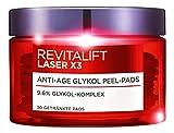 L'Oreal Paris RevitaLift Laser X3 Anti-Age Glykol Peeling Pads, mildert Falten und sorgt für eine ebenmäßige Haut, 30 ml