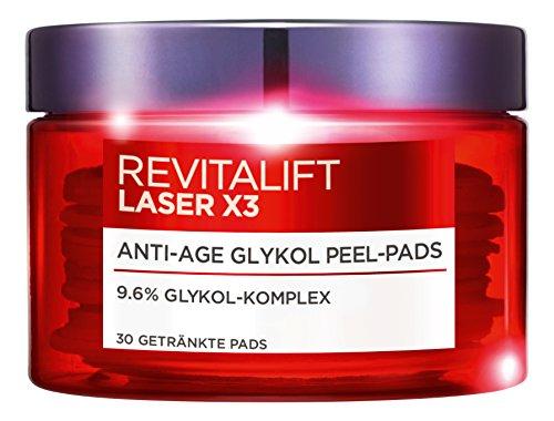 L'Oreal Paris RevitaLift Laser X3 Anti-Age Glykol Peeling Pads, mildert Falten und sorgt für eine ebenmäßige Haut, 30 ml -