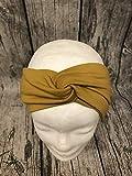 Knotenstirnband, Haarband, Turbanband, Sommersweat senfgelb, Ocker Sterne54-56cm
