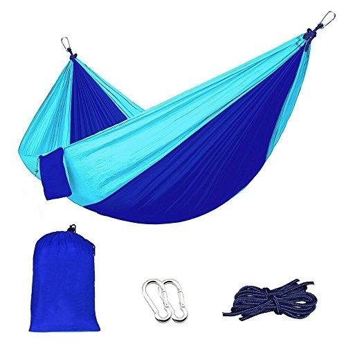 Outdoor Parachute Cloth Double Hammock Tied Tree Strap Outdoor Camping Double Hammock,Blue  5424
