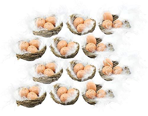 com-four® 12 nids de décoration de Pâques fabriqués à la Main avec des œufs et des Plumes (12 pièces - nid avec Oeufs + Plumes 5cm)