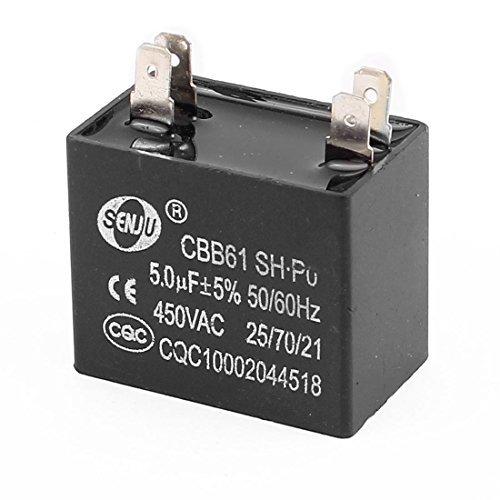 DealMux CBB61 5uF AC 450V 50 / 60Hz Polypropylen-Folien 4 Terminals Motor Kondensator Schwarz (60 Hz-motor)