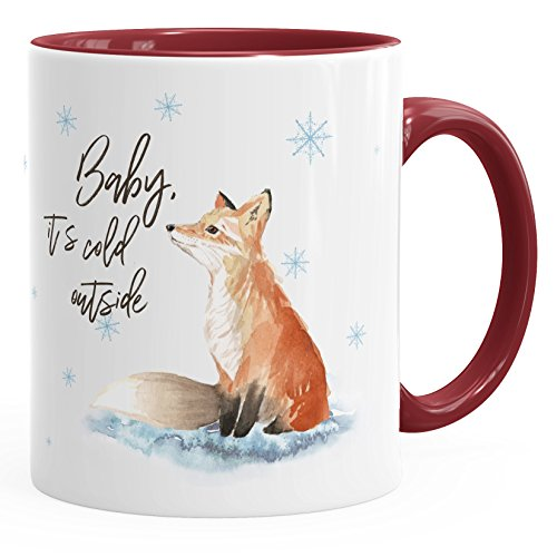 Tasse Weihnachten Baby it`s cold outside Spruch Fuchs Winter Schnee Fox Weihnachtsbecher Weihnachtstasse Autiga® bordeauxrot unisize Tasse Baby-tassen
