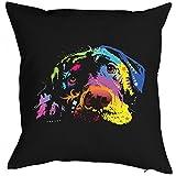 Neon Kissen mit Füllung - Bunter Hund - Toller Labrador - Dekokissen als humorvolle Geschenk Idee Hundefreunde Polster