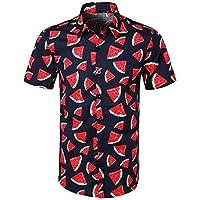 VJGOAL Hombre Verano Casual Moda Frutas y Flores Estampado Manga Corta con Botones Abajo Hawaiian Tops Solapa Camisas para Hombres