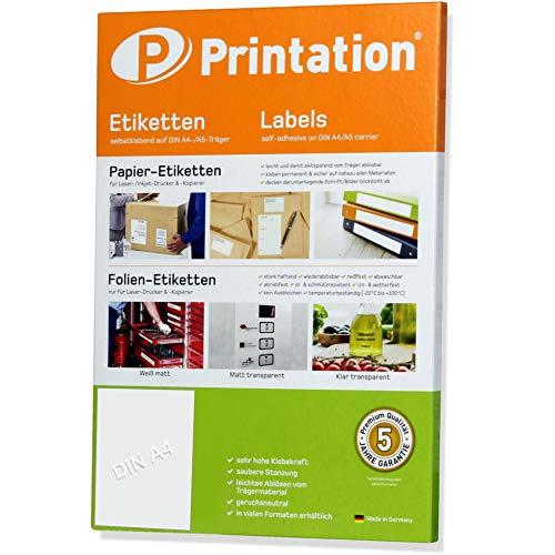 Printation - 100 etichette adesive su supporto A4, 210 x 297 mm, colore: bianco