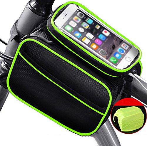RUIX Fahrradtasche Touchscreen Handy Tasche Fahrradtasche Vorne Strahl Tasche Rohr Wasserdichte Satteltasche Reiten Ausrüstung Zubehör,Green