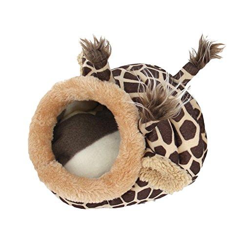Hamsterkäfig,BEETEST Niedlich Kleintier Haustier Ratten Hamster Eichhörnchen Igel Winter Warm Plüsch Käfig Hausnest Hamster Zubehör Größe L Giraffe Style
