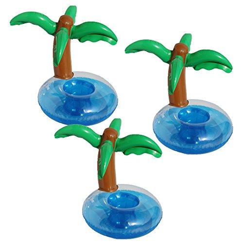 Aufblasbare Getränkehalter,Legends Einhorn Flamingo Palm Island Krapfen Frucht Cartoon Aufblasbares Flaschenhalter Badespielzeug Pool Untersetzer für Bier Getränke Saft (3 Stück-Palm Island) Aufblasbarer Pool Spielen