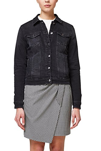 edc by ESPRIT Damen Jeansjacke 028CC1G011, Schwarz (Black Dark Wash 911), Medium