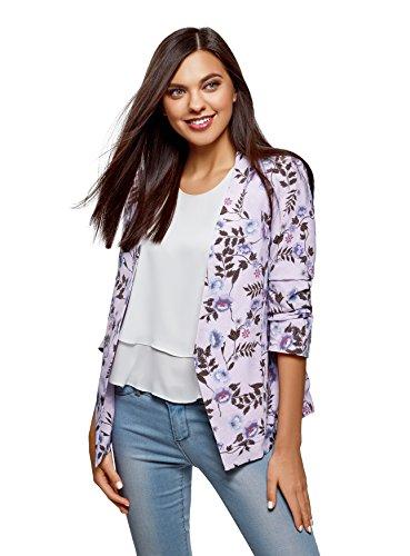 oodji Ultra Damen Taillierter Blazer mit 3/4-Ärmeln, Violett, DE 34 / EU 36 / XS