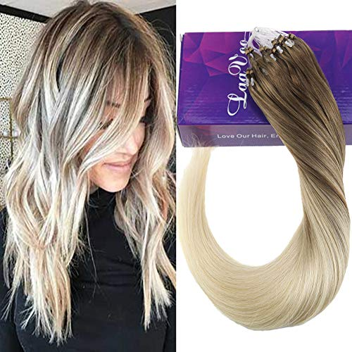 LaaVoo 18pouces/45cm Pose a Froid Easy Loop Extension Cheveux Naturel Marron Clair Balayage Ombre Blond #8/59 Microbeads Bresilien Humains Lisse Droite 50G/50S