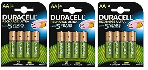 Duracell - AA Pack de 12 Piles Rechargeables Pré-Chargées 2500 mAh