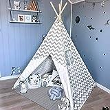 Bambini Teepee per Ragazzi, 1,65 m Grigio Chevron Tenda con Tappetino Imbottito per Bambini Giochi per Interni Decorazioni