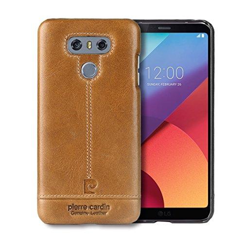 LG G6 Hülle, Pierre Cardin Premium Luxuriöser italienischer echtem Rindsleder Rückseitige Hartgehäuseabdeckung für LG G6(2017), (Cardin Pierre Kostüme)