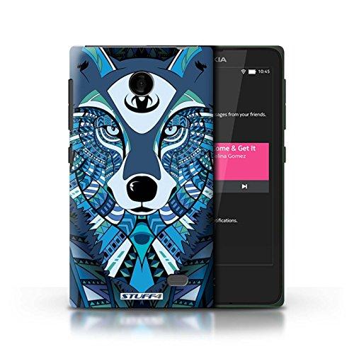 Kobalt® Imprimé Etui / Coque pour Nokia X / Tigre-Couleur conception / Série Motif Animaux Aztec Loup-Bleu