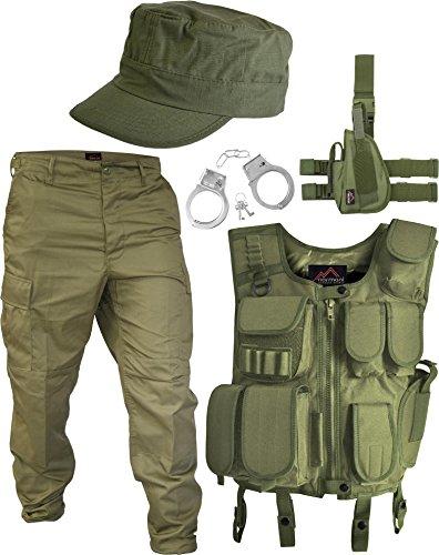 normani SWAT Kostüm U.S.Army bestehend aus Weste, Hose, Pistolenholster, Cap und Handschellen Größe ()