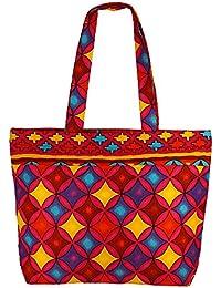 Bolsa de la compra de usos múltiples - multicolor bolsa de asas de algodón con cierre de cremallera y dos asas