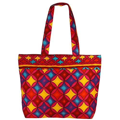 Multiuso Shopping Bag - multicolore borsa in stoffa di cotone con chiusura a cerniera e doppi manici