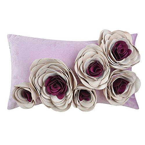 JWH Blumen Rosa 3D Kissenbezug In 100% Velvet Pattern Sechs Blumen Handgefertigte Stereo Kissen Dekorative Kissenbezug Für Stuhl Schlafsofa Schlafzimmer 30x50 CM Violett Bordeaux
