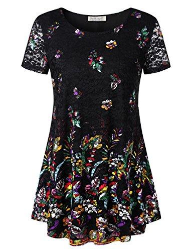 BAISHENGGT Damen Rundkragen Spitzen Gebluemt Kurzarmshirt T-Shirt Tunika Bluse Schwarz-Blumen 2XLarge -