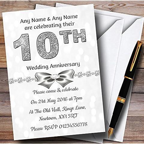 White Bokeh y plateado mirada 10Th personalizable aniversario fiesta invitat..., 40 Invites & Envelopes