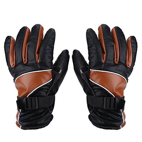 Guanti moto antivento, guanti riscaldati 12V Caccia all'aperto Guanti da sci Guanti invernali impermeabili(marrone)