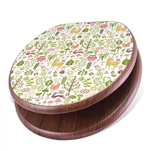 BANJADO Design Toilettensitz mit Absenkautomatik, WC-Sitz Holz, Klodeckel mit Metall Scharnieren, Toilettendeckel mit Motiv Im Wald