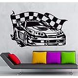 Stickers Muraux Voiture De Course Wall Sticker Course De Voitures De Sport Rallye Garage Garage Sticker Chambre Chambre Voiture Voiture Sticker Mural Décor À La Maison Décoratif 87.5X55Cm