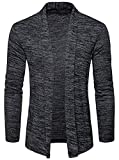 WHATLEES Unisex Lang Geschnittene Schlichte Strickjacke Cardigan in melierte Optik B939-DarkGray-L