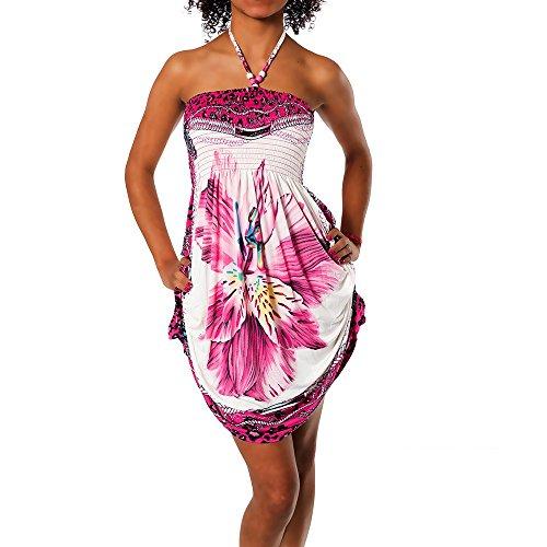 H112 Damen Sommer Aztec Bandeau Bunt Tuch Kleid Tuchkleid Strandkleid Neckholder, Farben:F-030 Pink;Größen:Einheitsgröße