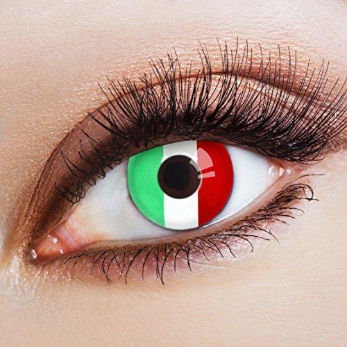 aricona Farblinsen Farbige Kontaktlinse Flagge Gli Azzurri   – Deckende Jahreslinsen für dunkle und helle Augenfarben ohne Stärke, Farblinsen für Karneval, Fasching, Motto-Partys und Halloween Kostüme