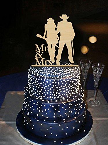 coolen Cowboy Style Braut und Bräutigam Halt a Gun Herr Frau Hochzeit Dekoration Kuchen Topper Personalisierte Kuchen Topper Für Partner 13Farben