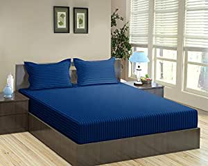 """Trance Home Linen Cotton 200 Tc King Fitted Bedsheet with 2 Pillow Covers (78"""" x 72"""") - Dark Blue"""
