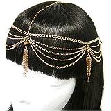 Head Jewelry ~Goldtone Head Chain W Crystal And Tassel Head Chain Head Band (IHC1003-GLD)