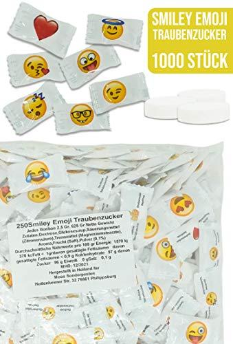 Moos Emoji Traubenzucker Bonbons, Großpackung Trauben Zucker für Geburtstag oder als Wurfmaterial an Karneval, 1000 Stk.
