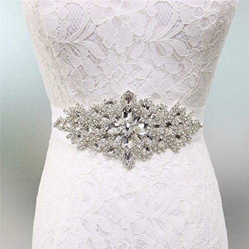 Zdada abito elegante nastro da sposa wedding belt sash cintura strass applique-8 color ribbon opzioni, altro, white, ra004