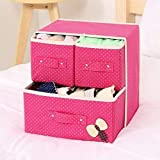 SUKHAD Foldable 3 Drawer Fabric Storage Box Organizer, 30 X 28 X 21 cm, Multicolour